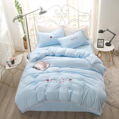 北欧水洗棉球球边四件套 1.8m(6英尺)床 蓝色