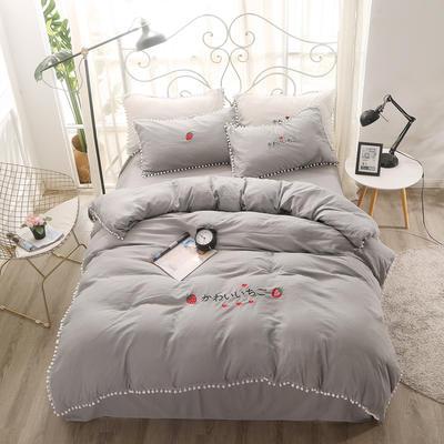 北欧水洗棉球球边四件套 1.5m(5英尺)床 全灰色
