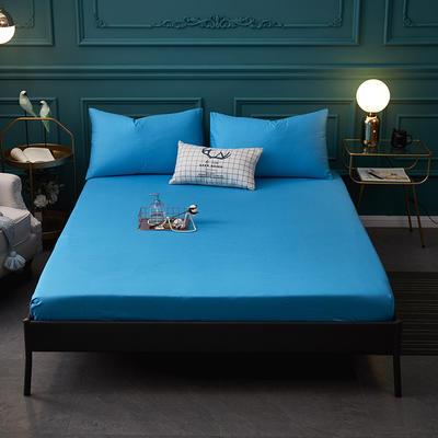 全棉13372纯色单床笠床单 席梦思保护套 0.9*2.0m/高30cm 宝石蓝