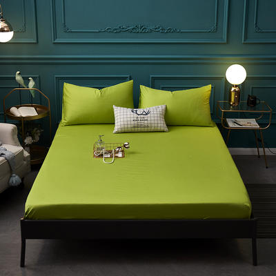 全棉13372纯色单床笠床单 席梦思保护套 0.9*2.0m/高30cm 草绿