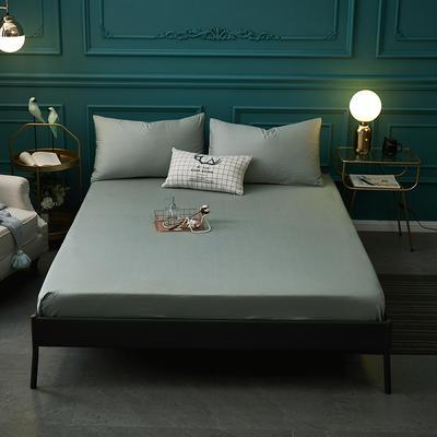 全棉13372纯色单床笠床单 席梦思保护套 0.9*2.0m/高30cm 豆绿色