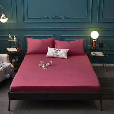全棉13372纯色单床笠床单 席梦思保护套 0.9*2.0m/高30cm 玫红色