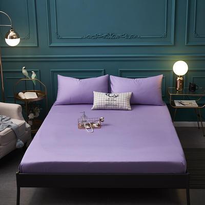 全棉13372纯色单床笠床单 席梦思保护套 0.9*2.0m/高30cm 浅紫色