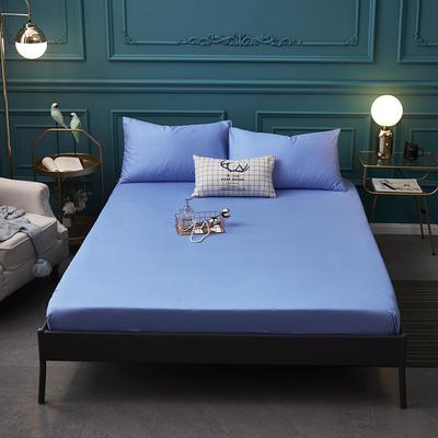 全棉13372纯色单床笠床单 席梦思保护套 0.9*2.0m/高30cm 天蓝色