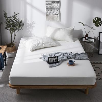 全棉色织水洗棉单床笠床单 席梦思保护套 0.9*2.0m/高30cm 白色