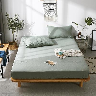 全棉色织水洗棉单床笠床单 席梦思保护套 0.9*2.0m/高30cm 草绿色