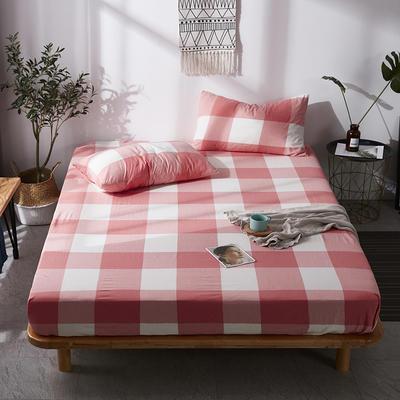 全棉色织水洗棉单床笠床单 席梦思保护套 0.9*2.0m/高30cm 粉白大格
