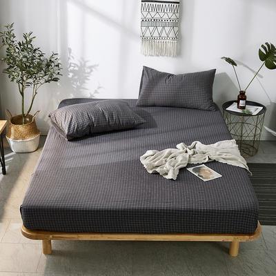 全棉色织水洗棉单床笠床单 席梦思保护套 0.9*2.0m/高30cm 黑细小格