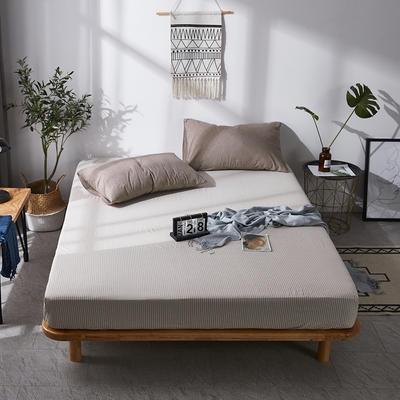 全棉色织水洗棉单床笠床单 席梦思保护套 0.9*2.0m/高30cm 咖细条