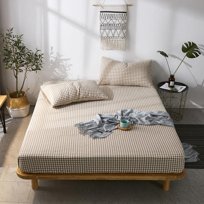 全棉色织水洗棉单床笠床单 席梦思保护套 0.9*2.0m/高30cm 咖小格