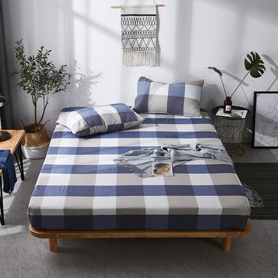 全棉色织水洗棉单床笠床单 席梦思保护套 0.9*2.0m/高30cm 蓝大格