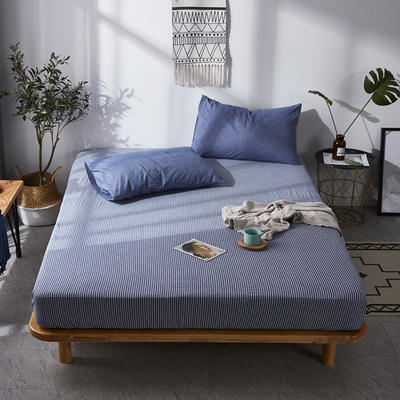 全棉色织水洗棉单床笠床单 席梦思保护套 0.9*2.0m/高30cm 蓝细条