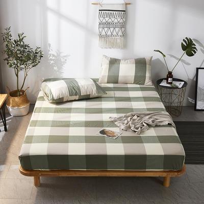 全棉色织水洗棉单床笠床单 席梦思保护套 0.9*2.0m/高30cm 绿大格