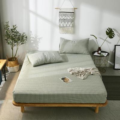 全棉色织水洗棉单床笠床单 席梦思保护套 0.9*2.0m/高30cm 绿小格