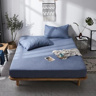 全棉色织水洗棉单床笠床单 席梦思保护套 0.9*2.0m/高30cm 牛仔蓝