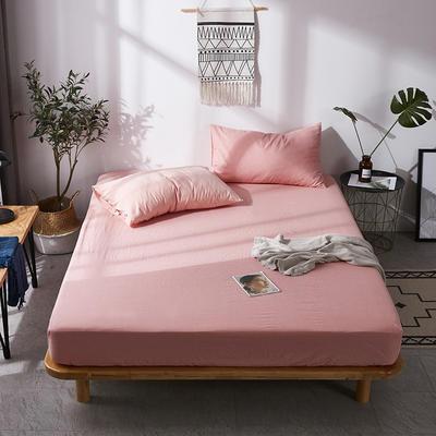 全棉色织水洗棉单床笠床单 席梦思保护套 0.9*2.0m/高30cm 浅粉色