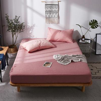 全棉色织水洗棉单床笠床单 席梦思保护套 0.9*2.0m/高30cm 深粉色