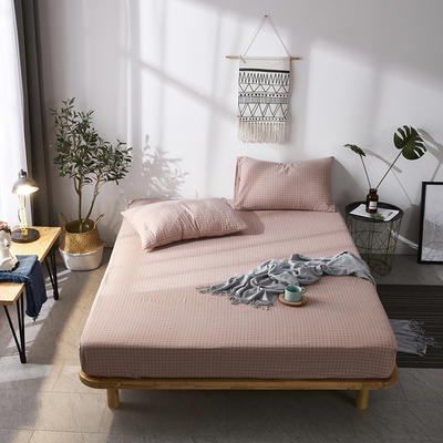 全棉色织水洗棉单床笠床单 席梦思保护套 0.9*2.0m/高30cm 玉细小格
