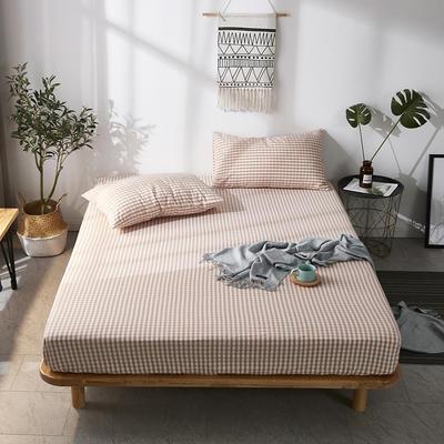 全棉色织水洗棉单床笠床单 席梦思保护套 0.9*2.0m/高30cm 玉小格