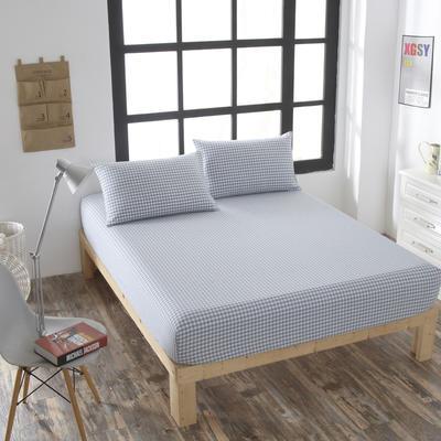 全棉色织水洗棉单床笠床单 席梦思保护套 0.9*2.0m/高30cm (天兰小格)