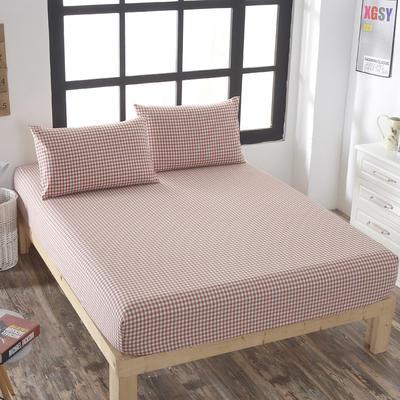 全棉色织水洗棉单床笠床单 席梦思保护套 0.9*2.0m/高30cm (砖红小格)