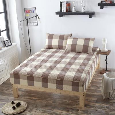 2019新款 全棉色织水洗夹棉加厚床笠 150cmx200cm/高30cm 咖啡大格