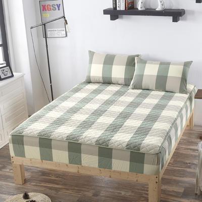 2019新款 全棉色织水洗夹棉加厚床笠 120cmx200cm/高30cm 绿大格