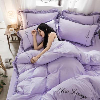 水洗棉蕾丝刺绣四件套 1.2三件套 裸紫