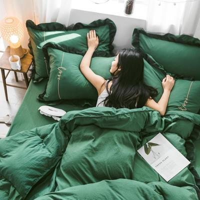 水洗棉蕾丝刺绣四件套 1.2三件套 墨绿