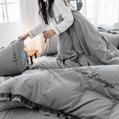 水洗棉蕾丝刺绣四件套 1.5m(5英尺)床 中灰