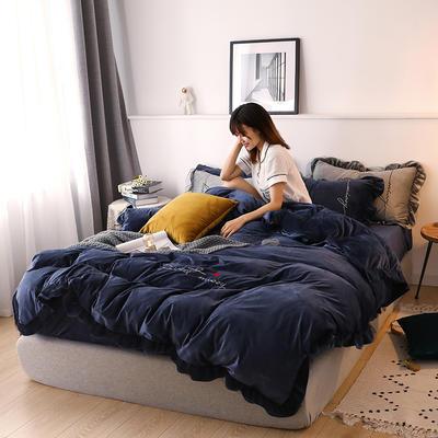 2019新款韩版刺绣蕾丝水晶绒牛奶绒四件套 1.2m(床单款三件套) 宝蓝