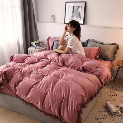 2019新款韩版刺绣蕾丝水晶绒牛奶绒四件套 1.2m(床单款三件套) 豆沙