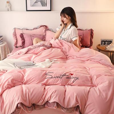 2019新款韩版刺绣蕾丝水晶绒牛奶绒四件套 1.2m(床单款三件套) 粉色