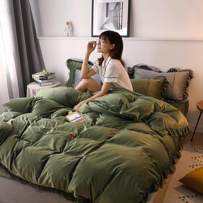 2019新款韩版刺绣蕾丝水晶绒牛奶绒四件套 1.2m(床单款三件套) 橄榄绿