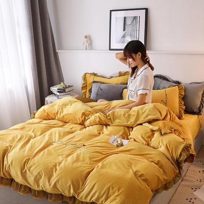 2019新款韩版刺绣蕾丝水晶绒牛奶绒四件套 1.2m(床单款三件套) 姜黄