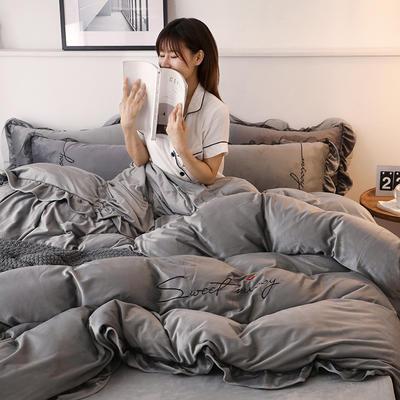 2019新款韩版刺绣蕾丝水晶绒牛奶绒四件套 1.2m(床单款三件套) 浅灰