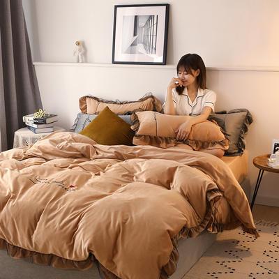 2019新款韩版刺绣蕾丝水晶绒牛奶绒四件套 1.2m(床单款三件套) 驼色