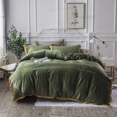 2019新款水晶绒宽边刺绣四件套 1.2m(床单款三件套) 橄榄绿