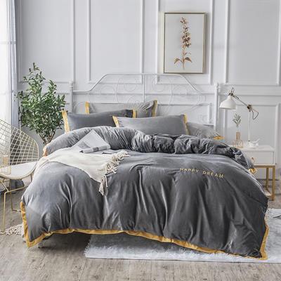 2019新款水晶绒宽边刺绣四件套 1.2m(床单款三件套) 浅灰