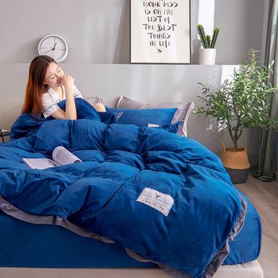 2019新款宽边贴布绣牛奶绒法莱绒纯色水晶绒四件套 1.2m(床单款三件套) 藏青