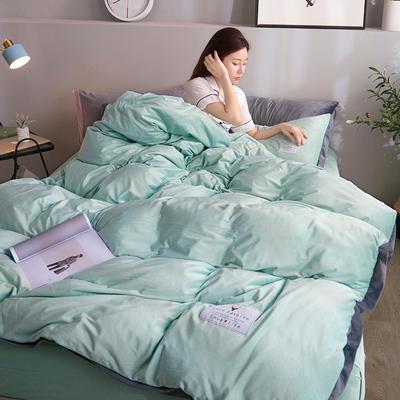 2019新款宽边贴布绣牛奶绒法莱绒纯色水晶绒四件套 1.2m(床单款三件套) 豆绿