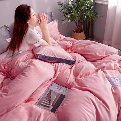 2019新款宽边贴布绣牛奶绒法莱绒纯色水晶绒四件套 1.2m(床单款三件套) 粉玉