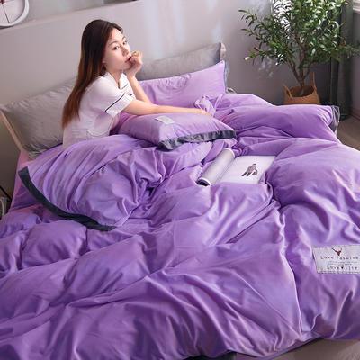2019新款宽边贴布绣牛奶绒法莱绒纯色水晶绒四件套 1.2m(床单款三件套) 浅紫