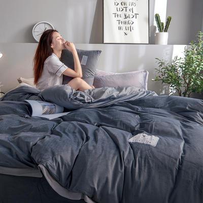 2019新款宽边贴布绣牛奶绒法莱绒纯色水晶绒四件套 1.2m(床单款三件套) 深灰