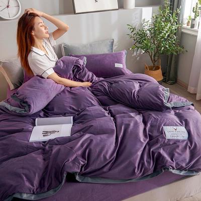 2019新款宽边贴布绣牛奶绒法莱绒纯色水晶绒四件套 1.2m(床单款三件套) 深紫