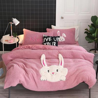 2019牛奶绒羊羔绒立体绣毛巾绣四件套 1.8m-2.0m床单款 粉爱爱兔