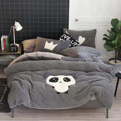 2019牛奶绒羊羔绒立体绣毛巾绣四件套 1.8m-2.0m床单款 灰爱宝熊猫