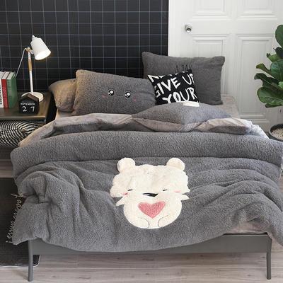 2019牛奶绒羊羔绒立体绣毛巾绣四件套 1.8m-2.0m床单款 灰抱抱熊