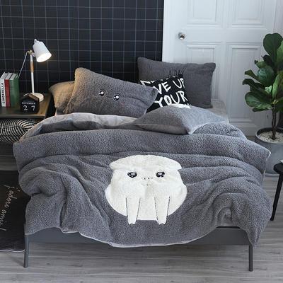 2019牛奶绒羊羔绒立体绣毛巾绣四件套 1.8m-2.0m床单款 灰幸福少女