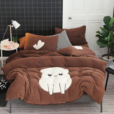 2019牛奶绒羊羔绒立体绣毛巾绣四件套 1.8m-2.0m床单款 咖啡幸福少女